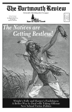The cover of the Review, depicting a Native American displaying a scalp.