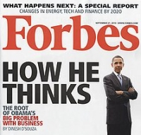 A portion of the Forbes magazine cover featuring Dinesh D&#8217;Souza&#8217;s article on President Obama.