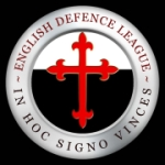 "English Defense League logo. The slogan ""In hoc signo vinces"" roughly translates to ""In this sign you will conquer."""