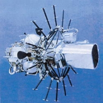 An &#8216;exo-atmospheric kill vehicle,&#8217; or EKV, part of the &#8216;Brilliant Pebbles&#8217; space-based missile defense system.