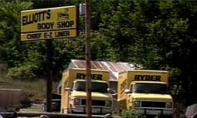 Elliott&#8217;s Body Shop in Junction City. Two Ryder trucks similar to the one rented by McVeigh are visible.