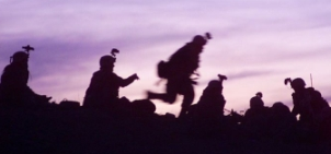 US Army soldiers in Afghanistan at dusk.