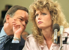Fawn Hall and her attorney, Plato Cacheris, during her June 1987 testimony before the House-Senate Iran-Contra investigative committee.
