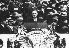 Roosevelt giving his inaugural address.