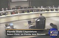"A ""Select Committee"" of the Florida State Legislature meets to discuss appointing its own slate of electors to vote for George W. Bush in the Electoral College."