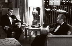 Ronald Reagan and Gerald Ford at a Los Angeles hotel, October 1974.