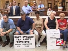 Local &#8216;tea party&#8217; protesters at the Arcuri/Hoyer town hall.