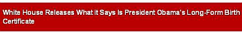 A screenshot of Fox News (.com)'s headline announcing the release of Obama's birth certificate.