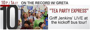 Fox News television banner promoting its coverage of the &#8216;Tea Party Express&#8217; bus tour.