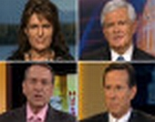 Clockwise from upper left: Sarah Palin, Newt Gingrich, Rick Santorum, and Mike Huckabee.
