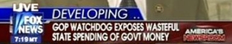 Chyron displayed during Fox News broadcast touting Republican 'watchdog' efforts on Democratic spending.