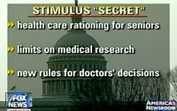 Fox News graphic making disproven claims about Congressional health care reform proposals.