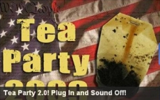Fox News's Web site, Fox Nation, features a banner advertisement for May 14's 'Tea Party 2.0' events.