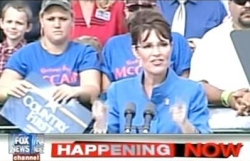 Screenshot of Fox's November 18, 2009 broadcast using 2008 footage to claim 'huge crowds' at Palin's book tour.