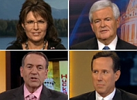 Four of Fox News&#8217;s presumptive presidential candidates. Clockwise from upper left: Sarah Palin, Newt Gingrich, Rick Santorum, and Mike Huckabee.