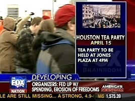 Screenshot of Fox News promoting the &#8216;Tea Party&#8217; rally in Houston.