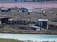 A distant shot of the Freemen compound. Reporters were not given much access to the area, and photographs of the area and the participants in the standoff are limited.