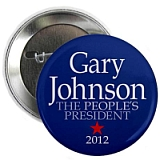 A campaign button for Gary Johnson, who bills himself as 'The People's President.'