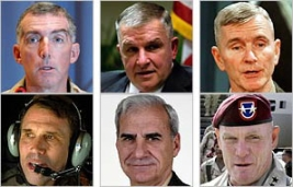 Six of the generals named by the New York Times as part of the 'Generals' Revolt: clockwise from the upper left, Paul Eaton, Anthony Zinni, Gregory Newbold, Charles Swannack, John Riggs, and John Batiste.