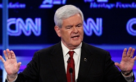 Newt Gingrich during a recent debate among Republican presidential candidates.
