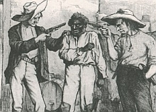An excerpt from a 'Harper's Weekly' cartoon from 1876 showing two white men menacing a black man attempting to cast a vote. The cartoon illustrates the effect of the 'grandfather clause.'
