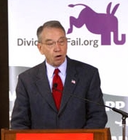 "Charles (""Chuck"") Grassley addresses an AARP meeting in early 2009."