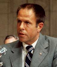 H. R. Haldeman testifying to Congress in July 1973. Haldeman&#8217;s testimony was damaging to all four defendants.