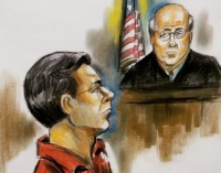 A courtroom illustration of Matthew Hale listening to instructions from Judge John Moody.