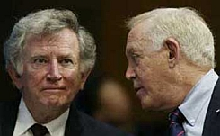 Gary Hart (left) and Warren Rudman (right) testify before a Senate committee in 2002.
