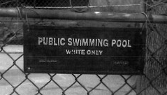 'White Only' sign posted on Ohio landlord Jamie Hein's swimming pool.