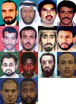 High value detainees. Top row, from left: KSM, Mustafa Ahmad al-Hawsawi, Hambali, Khallad bin Attash. Middle row, from left: Ali Abdul Aziz Ali, Ramzi bin al-Shibh, Abd al-Rahim al-Nashiri, Abu Zubaida. Bottom row, from left: Majid Khan, Ahmed Khalfan Ghailani, Abu Faraj al-Libbi, Mohamad Farik Amin, Mohammed Nazir Bin Lep, and Gouled Hassan Dourad.