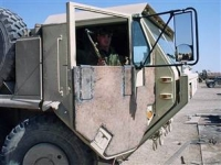 A reinforced door on an Army truck at a base at Ar-Ramadi, Iraq.