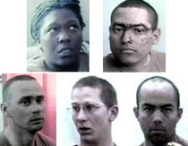 Photos of five US captives broadcast by Al Jazeera. The soldiers are, clockwise from the left: Spc. Shoshana Johnson, Spc. Edgar Hernandez, Spc. Joseph Hudson, Pfc. Patrick Miller, and Sgt. James Riley.