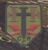 A Hutaree logo depicted on a shoulder patch. The initials CCR stand for 'Colonial Christian Republic.'