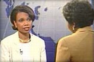 Condoleezza Rice being interviewed by Gwen Ifill.
