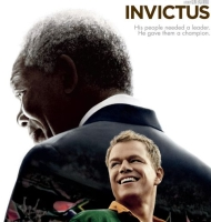 A portion of the poster for the film &#8216;Invictus,&#8217; starring Morgan Freeman as Nelson Mandela.