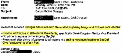 Portion of Pentagon e-mail discussing Meigs/Jacobs strategy session.