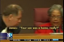 A screenshot of a television news report showing County Commissioner Bill James asking fellow Commissioner Vilma Leake if her dead son was 'a homo.'