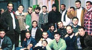 Friends of Ziad Jarrah taken on April 1, 1999. Third from left in back row is Abdelghani Mzoudi; fifth is Mounir El Motassadeq; seventh is Ramzi bin al-Shibh; Mohamed Atta is on middle row far right; Atta rests his hands on Mohamed Rajih.