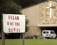 A sign outside Terry Jones&#8217;s Florida church.