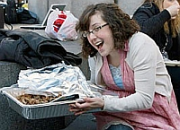Keli Carender at the Seattle 'porkulus' rally. Blogger Michelle Malkin promoted the rally and provided food for the protesters.