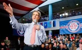 John Kerry speaks at a February 2004 town hall event.