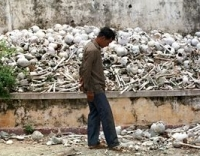 A photo of a 'mountain of skulls' from one of the Khmer Rouge's 'killing fields.' Michael Savage argues that this could be a scene from Obama's America.