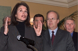 Paramount's Sherry Lansing at a 2001 meeting to discuss the media's role in battling terrorism. She is flanked by Walt Disney CEO Robert Iger, Karl Rove, and CBS owner Sumner Redstone.