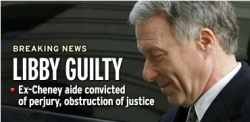 MSNBC 'Breaking News' image with photo of Lewis Libby immediately after he learns he is found guilty.