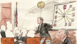 An artist&#8217;s sketch of some of the proceedings in the Libby trial.