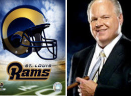Photo illustration of Rush Limbaugh and the St. Louis Rams logo.