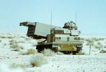 An Army M-270 rocket system deployed in Saudi Arabia.
