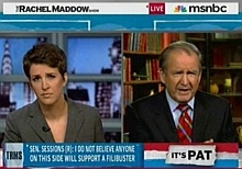 Rachel Maddow and Pat Buchanan, during their discussion of Sonia Sotomayor&#8217;s nomination to the Supreme Court.
