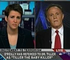 MSNBC's Rachel Maddow (l) interviews Frank Schaeffer (r).